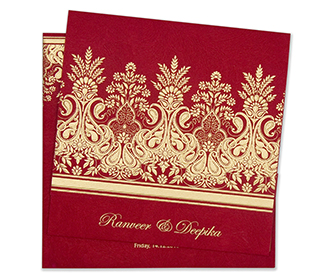 Designer wedding invitation card in vibrant red colour -
