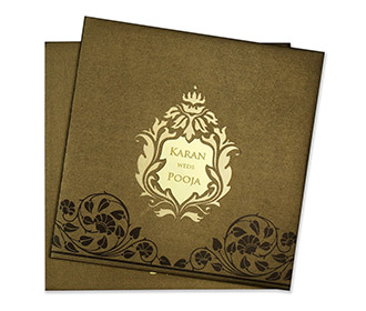 Designer wedding invitation in Brown with floral cut outs