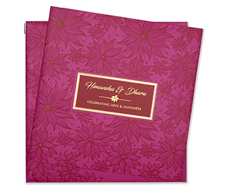 Designer wedding invitation in pink with flowers in red