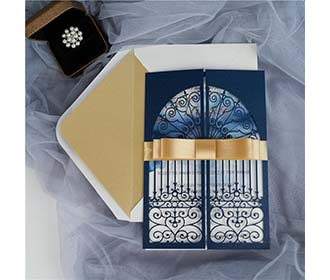 Door to happiness laser cut wedding invite in navy blue colour -