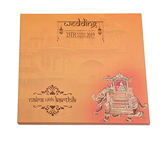 Dulha Dulhan theme Royal Indian wedding invitation
