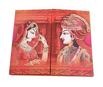 Dulha Dulhan theme Royal Indian wedding invitation -