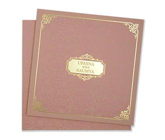 Elegant & Designer multifaith wedding card in rose gold colour