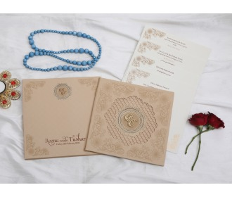 Elegant beige laser cut wedding invite