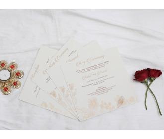 Elegant beige with floral wedding invite