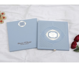 Indian Wedding Invitation in Powder Blue laser cut design