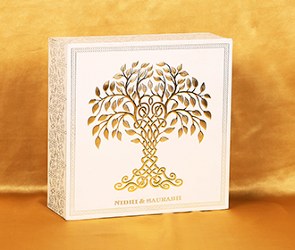 Elegant box invite in cream and golden with tree of life theme -