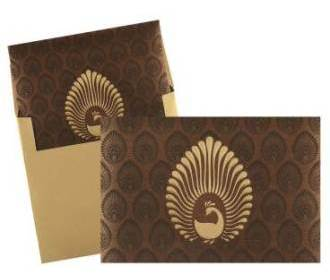 Elegant Brown and Golden Peacock Design Card