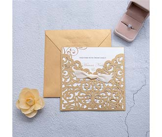 Elegant Brown Laser Cut Ribbon Bow Wedding Invitation -