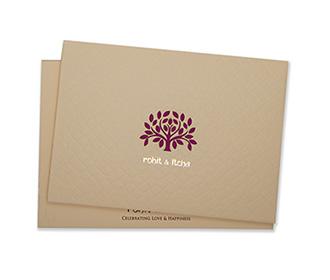 Elegant designer tree of life wedding card in peach colour -