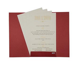 Elegant floral Indian wedding invitation in maroon