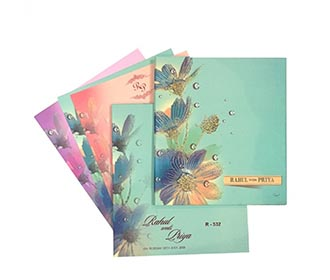 Elegant flower theme wedding invite fresh spring colours -