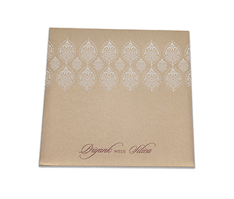 Elegant golden wedding invitation with white motifs
