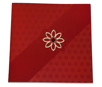 Elegant Indian wedding card in red colour with flower design