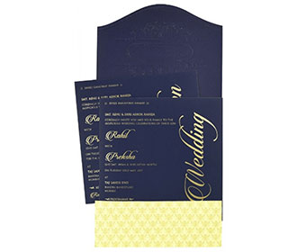 Elegant Indian wedding invitation in navy blue colour