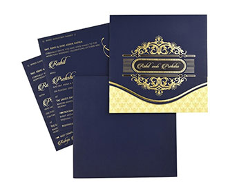 Elegant Indian wedding invitation in navy blue colour -