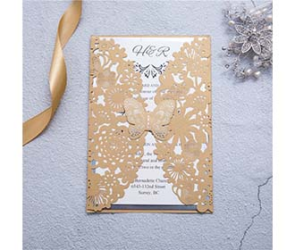 Elegant laser cut wedding card with butterfly available in Ivory and Golden -