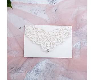 Elegant laser cut wedding invite with silver rhinestone -