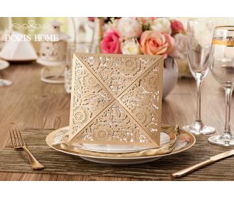 Elegant laser cutting lace wedding invitation card
