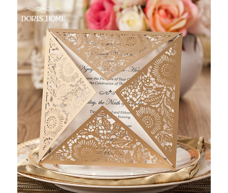 Elegant laser cutting lace wedding invitation card -