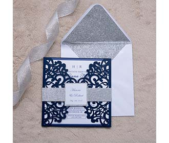 Elegant Navy colour gate fold invitation with a belly band -