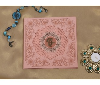 Beautiful pink laser cut Indian wedding Invitation