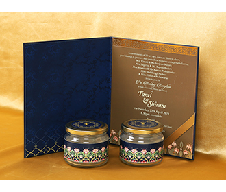Elegant Sikh wedding box invite in royal blue with coloorful floral design