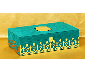 Elegant Teal & Golden coloured wedding box invite with sweet jars -