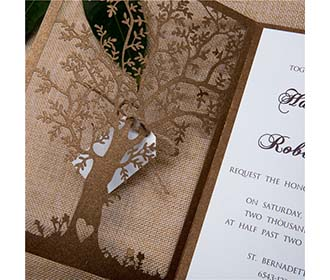 Elegant Tree Laser Cut Wedding Invitations in Brown colour with tag