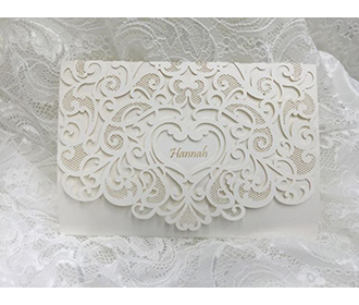 Elegant trifold laser cut wedding invitation card