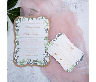 Elegant wedding invitation card in abstract shape -