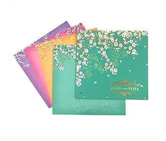 Elegant wedding invitation with multicolor inserts & beautiful white flowers -