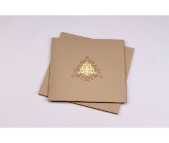 Elegant wedding invite in burly-wood and golden with multicolour inserts
