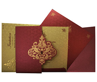 Elegant Wedding Invite in Maroon with Golden Patterns