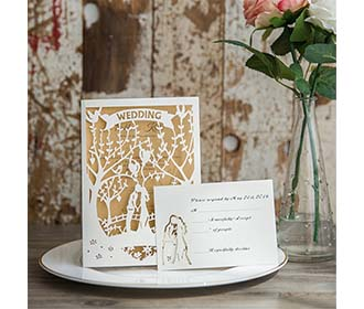Enchanted Garden laser cut wedding invite available in blue and white
