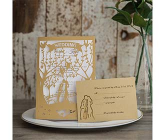 Enchanted Garden laser cut wedding invite available in blue and white -