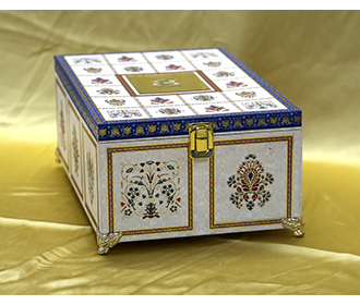 Ethnic Indian wedding boxed invite in Ivory and blue with marble patterns -