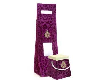 Purple Velvet Wine Bag and Sweet Box Combo