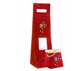 Wedding Gift Wine Bag in Red Shaneel and Sweet Box Combo