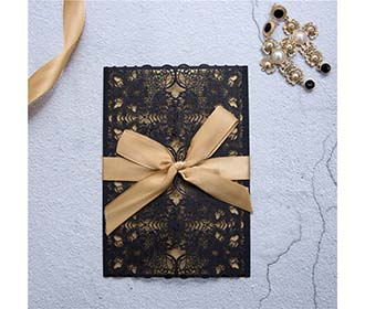 Exquisite Black colour wedding invite in lace design with golden ribbon -
