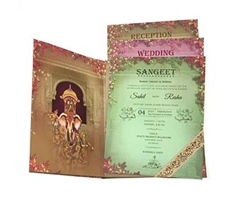 Exquisite designer royal Indian wedding invite with multicolor iinserts