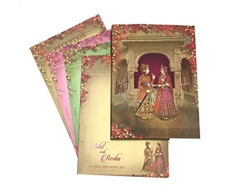 Exquisite designer royal Indian wedding invite with multicolor iinserts -