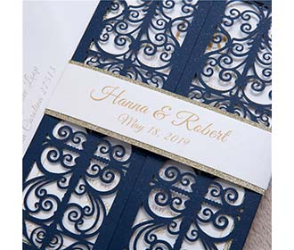 Exquisite Navy Blue Gate Fold Laser Cut Wedding Invitation