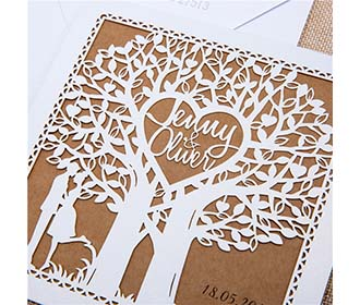 Fairytale Laser Cut Tree Wedding Invitation Card in Ivory