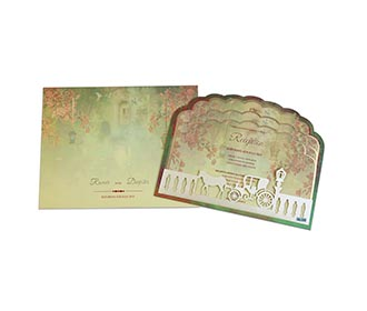 Fairytale theme wedding invitations in Ivory & green colour -