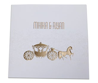 Fairytale themed multifaith wedding invitation in Ivory