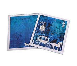 Fairytale wedding invitation card in midnight blue colour