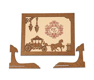 Fairytale Wedding Invite in laser cut photo frame style with a chariot