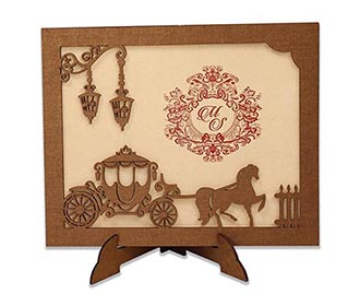 Fairytale Wedding Invite in laser cut photo frame style with a chariot -