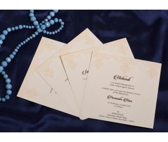 Floral Beige laser cut wedding invite